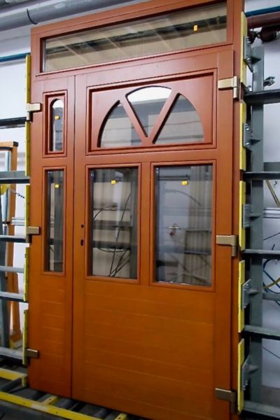 Oak double door with toplight